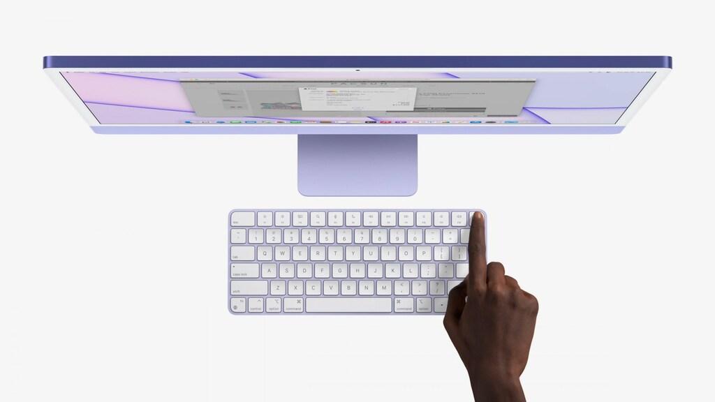 De iMac heeft een vingerscanner in het toetsenbord.