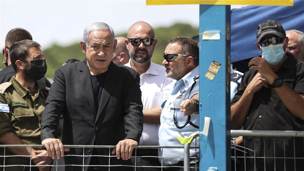 Premier Netanyahu vanochtend bij de Meronberg