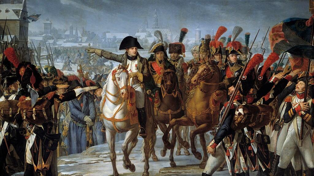 Napoleon spreekt zijn troepen toe, op dit schilderij uit 1808.