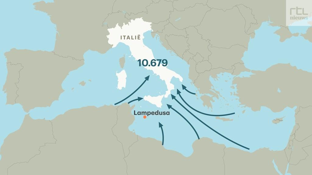 Ten opzichte van de eerste maanden van 2020 is het aantal migranten in Italië meer dan verdubbeld.