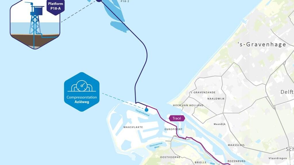 De opslag komt in een leeg gasveld voor de kust van Den Haag.