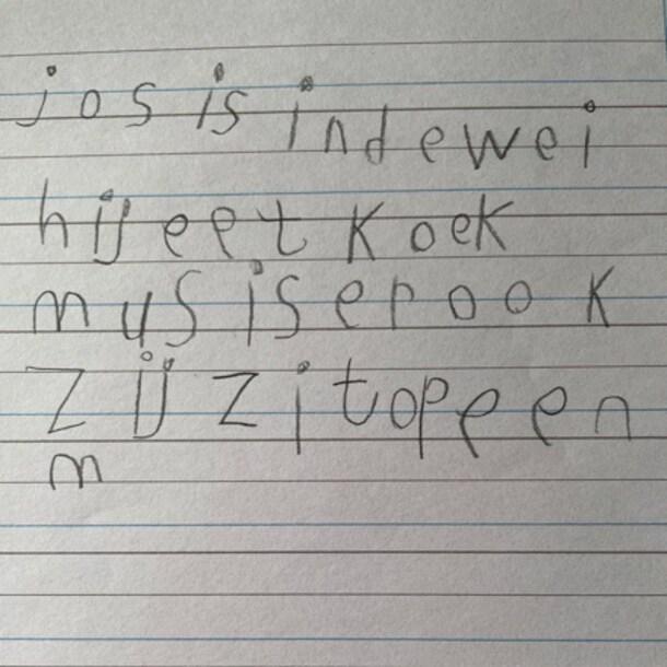 Een voorbeeld van een handschrift dat nog wel wat verbetering kan gebruiken.