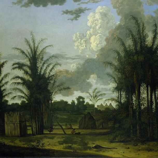 Schilderij van Dirk Valkenburg uit 1707 met daarop waarschijnlijk plantage Palmeneribo in Suriname, waar onder meer slaaf Wally (een van de personen in de tentoonstelling) werd gedwongen te werken.