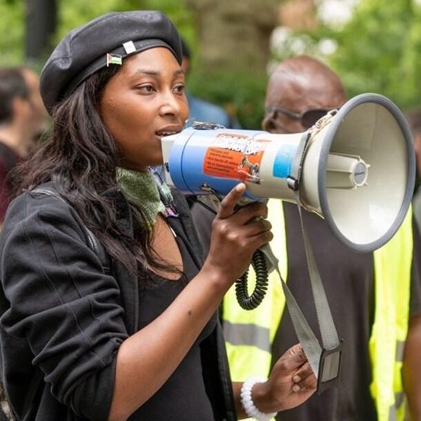 Johnson tijdens een protest in Londen vorig jaar juni.