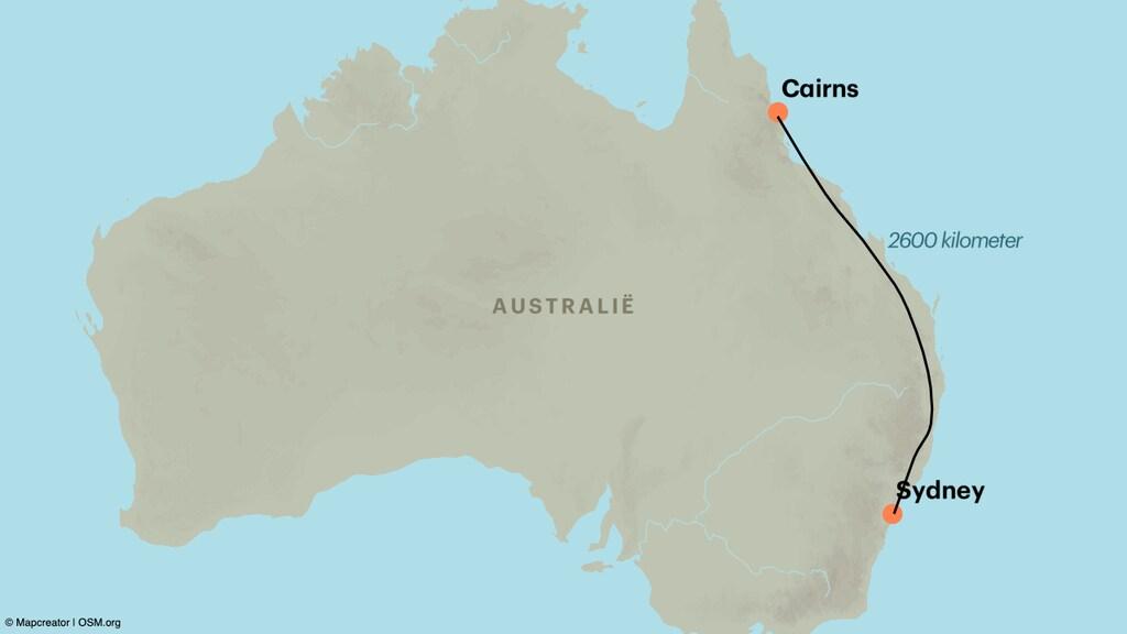 De route die Anton loopt.