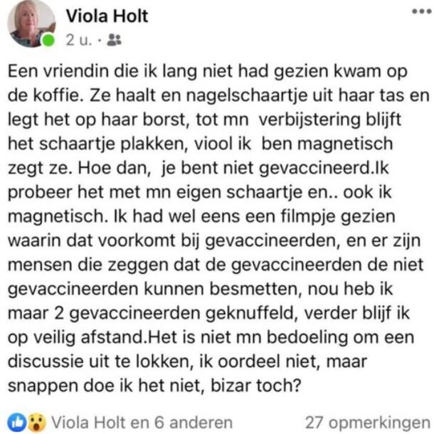 Viola Holt deelde deze post op haar Facebookprofiel