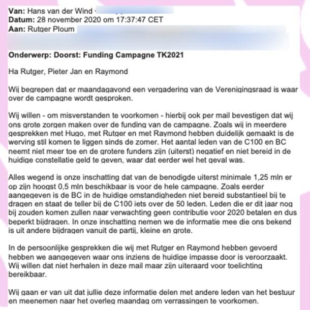 De mail van Van der Wind over de niet vlottende fondsenwerving.