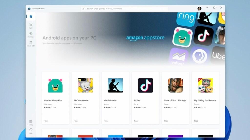 Windows 11 krijgt Android-apps via de Amazon Appstore.