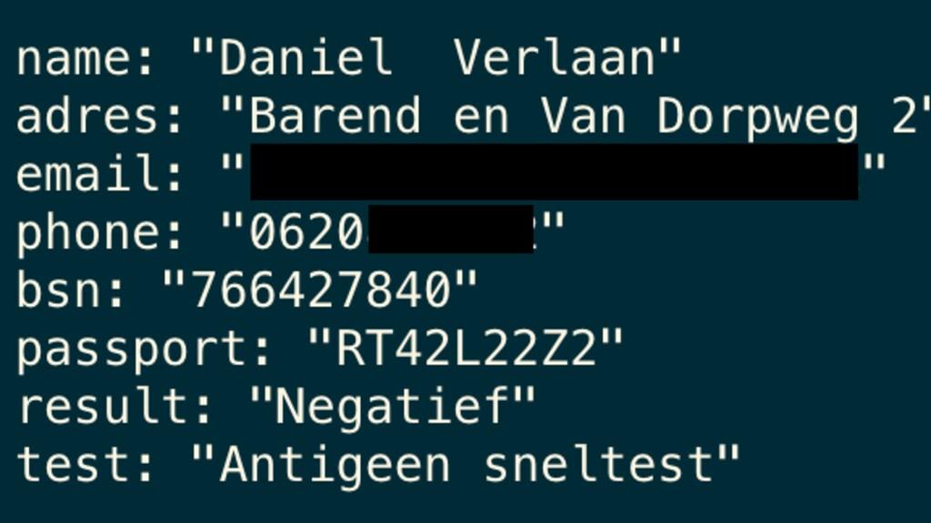 De gegevens in de database, met een fictieve bsn en paspoortnummer.