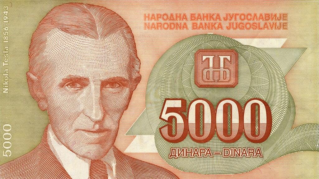 In voormalig Joegoslavië stond Nikola Tesla op het biljet van 5000 dinar.