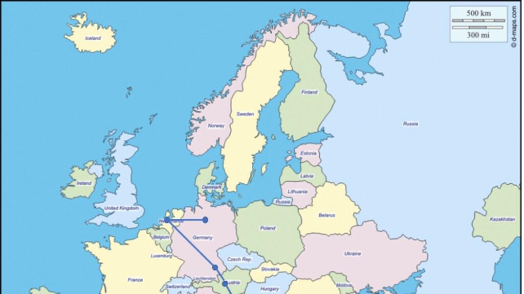 De route die de broers samen aflegden tijdens hun vlucht.