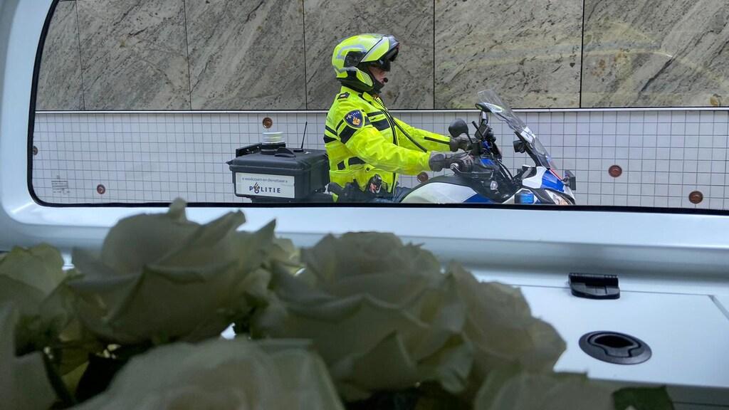 Een foto vanaf de ambulance waar Kees Veldboer in lag.