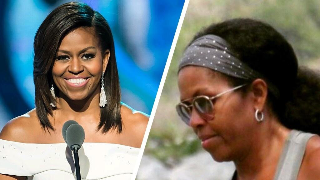 Via Twitter liet Michelle Obama haar natuurlijke haar zien (foto rechts), het bericht werd massaal gedeeld.