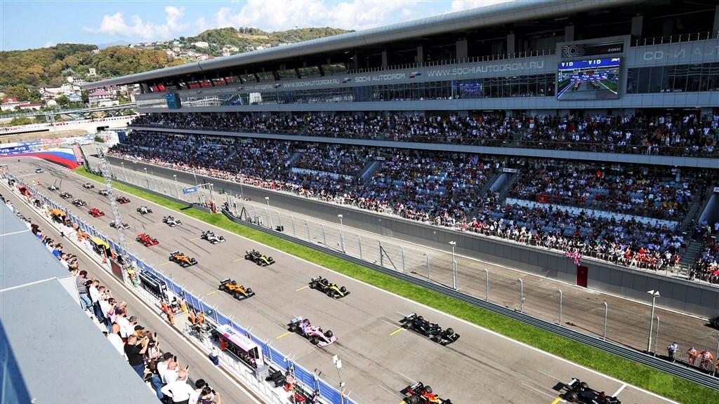 Start van de Grand Prix van Rusland, september 2020.