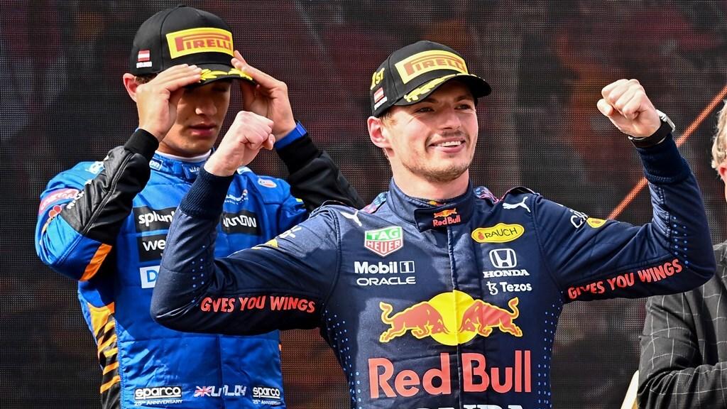 Max Verstappen na zijn winst in de GP van Oostenrijk op 4 juli.