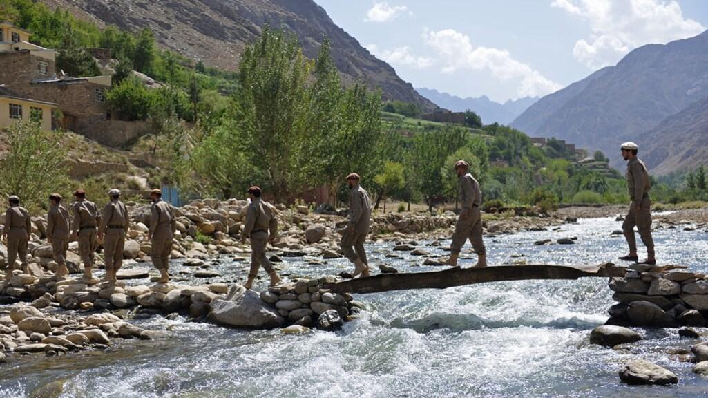 Een militaire training van de verzetsbeweging in de provincie Panjshir van afgelopen weekend.
