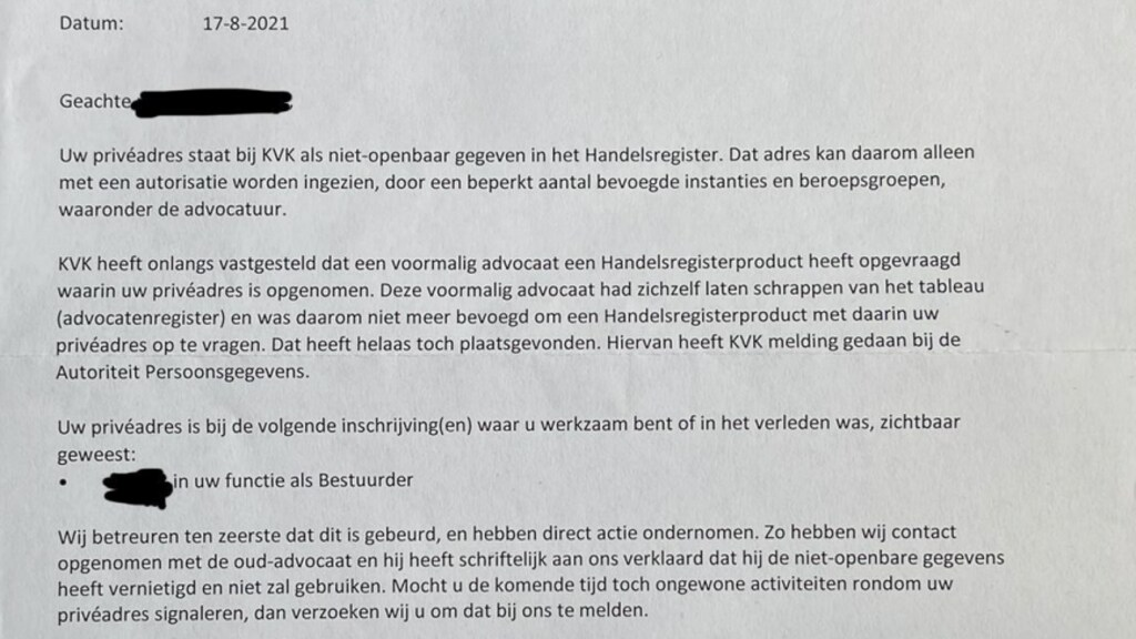 De brief die door de KvK is verstuurd.