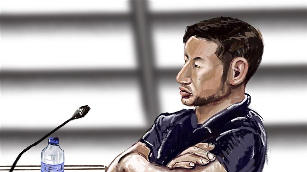 Amin L. door rechtbanktekenaar Nicole van den Hout.