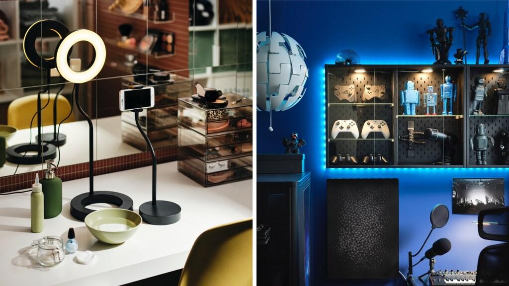Links: LÅNESPELARE-ringlicht, rechts: UPPSPEL-kastje met verlichting.