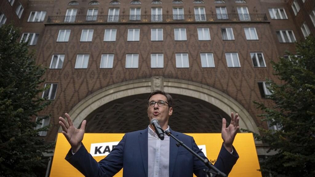 Gergely Karacsony, de burgemeester van Budapest tijdens een politieke rally in de hoofdstad