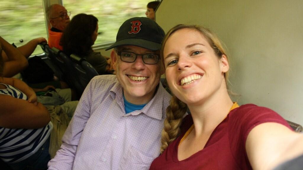 Sandra met haar vader in Rio de Janeiro.