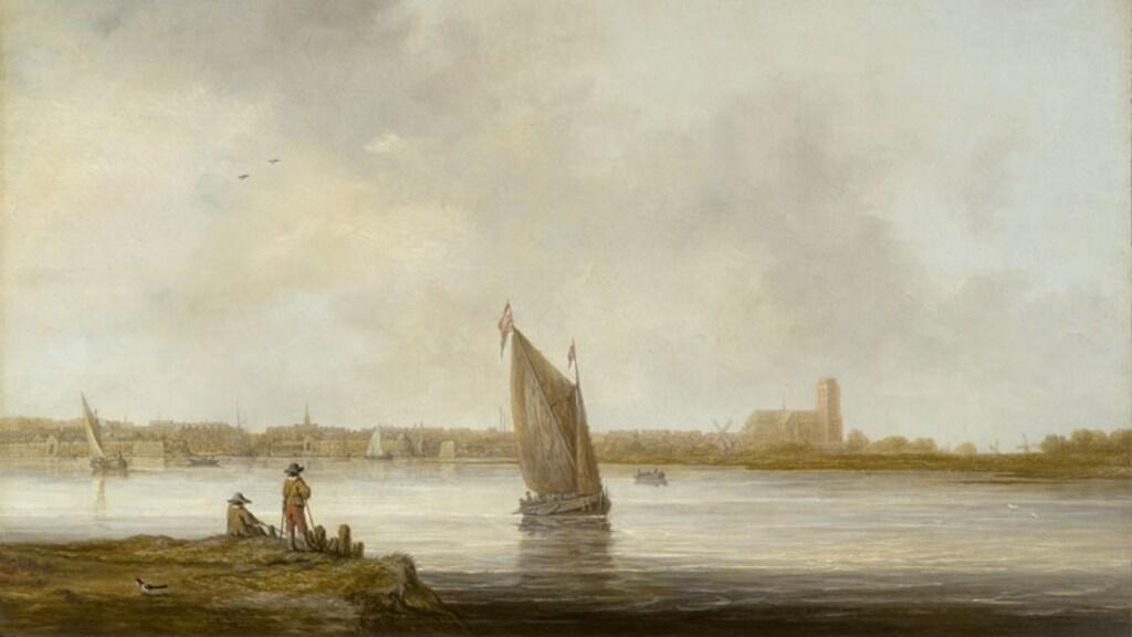 Het schilderij 'Gezicht op Dordrecht', het rechterdeel van het werk.