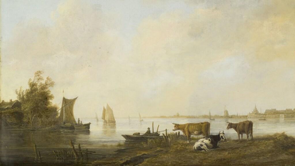 Het schilderij 'Riviergezicht bij Dordrecht': de linkerhelft van het werk.