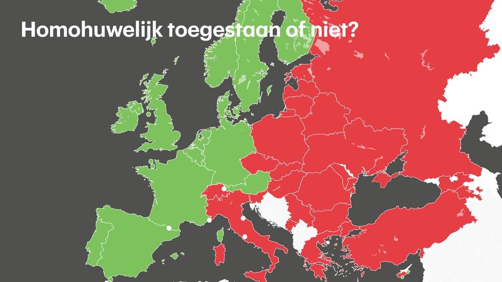 De Europese landen die met groen staan aangegeven erkennen het homohuwelijk. In de met rood aangegeven landen is het verboden.