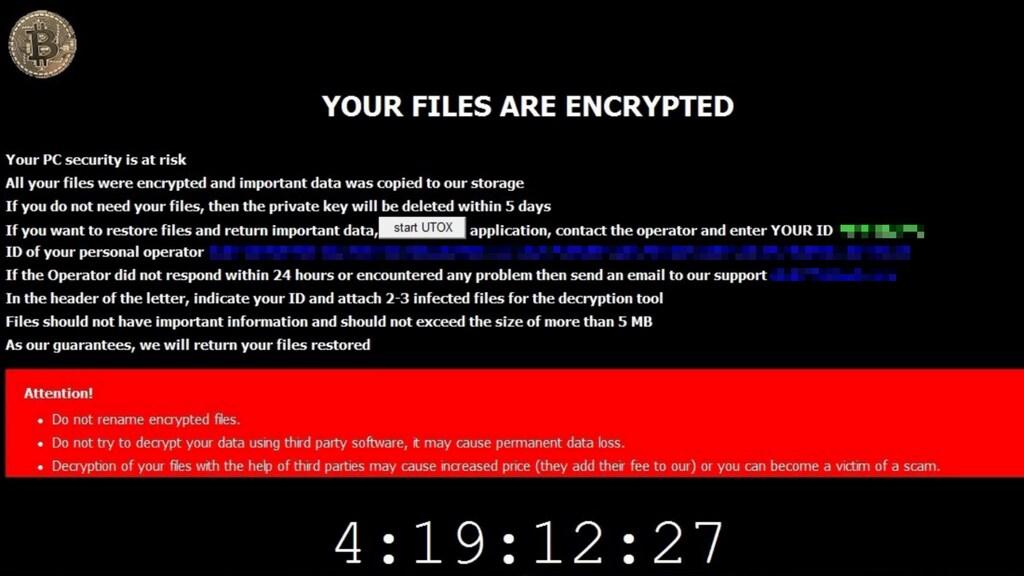 Een screenshot van de CryTOX-ransomware.