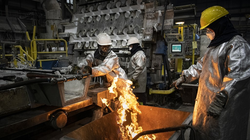 Aluminiumsmelter Damco Aldel bij Delfzijl.
