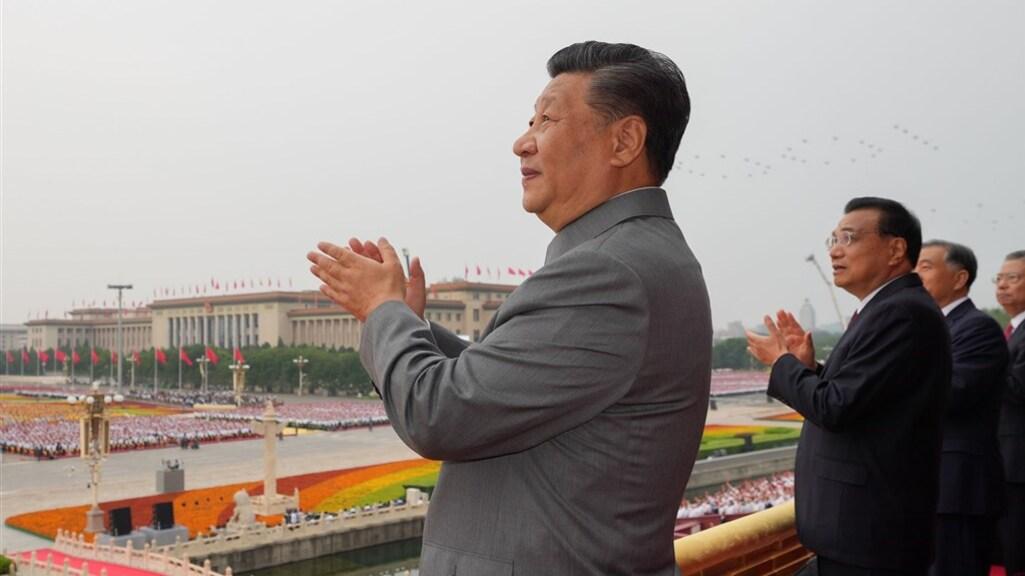 De Chinese president Xi Jinping tijdens de viering van het 100-jarig bestaan van de Chinese Communistische partij.