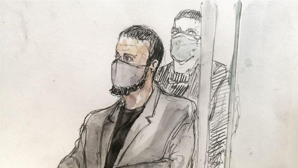 Salah Abdeslam vandaag in de rechtbank.