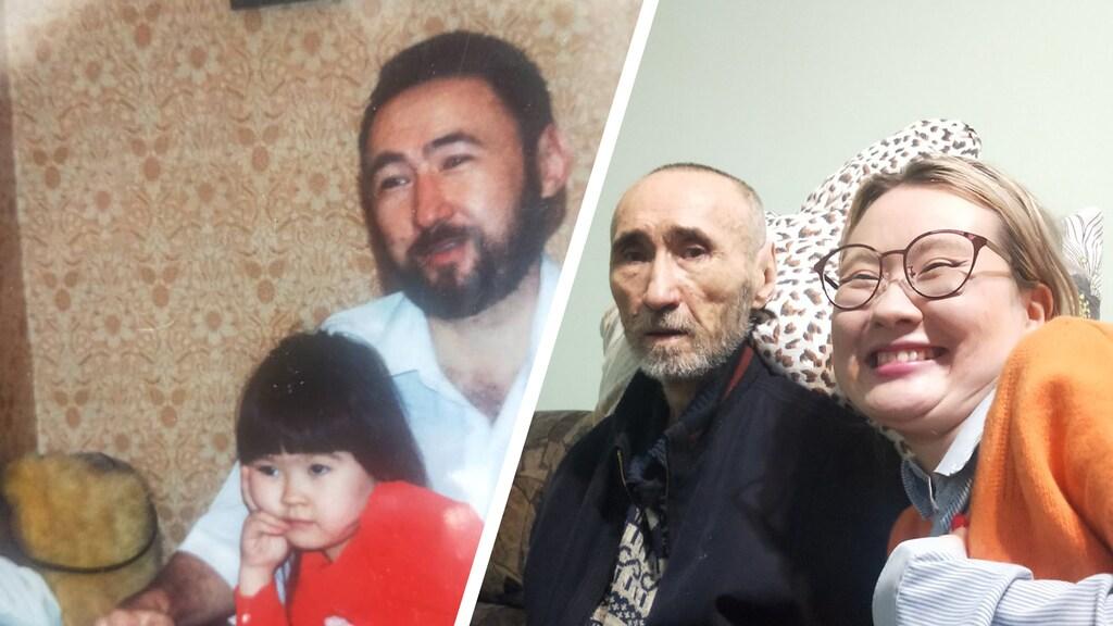 Links is Ajdaná nog een klein meisje op schoot bij haar vader, rechts is ze een volwassen vrouw