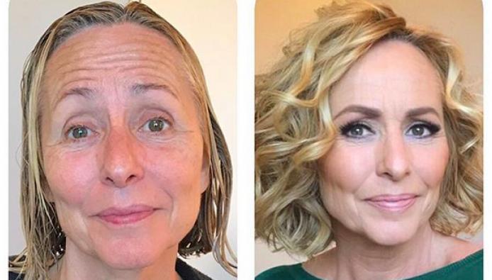 Goudeerlijk  Angela Groothuizen zonder en met make-up 54d7158dc8