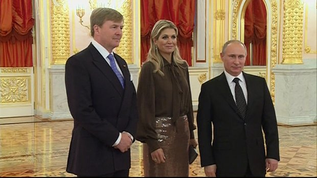 Poetin ontvangt koning Willem-Alexander en koningin Máxima