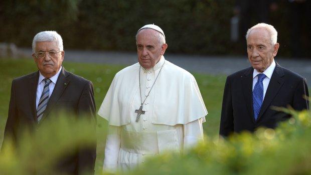 Peres en Abbas aangekomen in Vaticaan