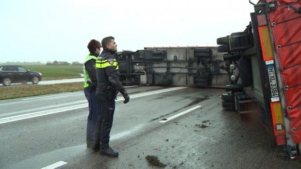 Recordaantal vrachtwagens gekanteld