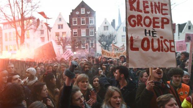 Studenten protesteren tegen UvA