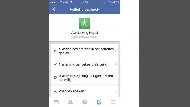 'Ik ben veilig'-knop op Facebook