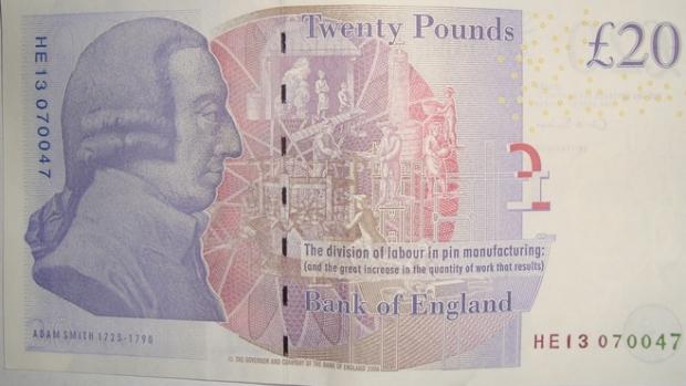Wie vervangt Adam Smith op biljet 20 pond?
