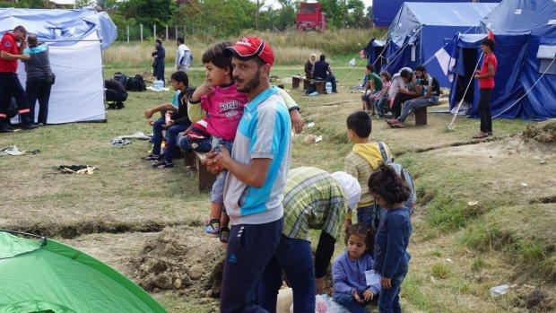 Vluchtelingen op doorreis door Servië