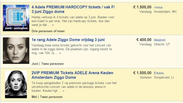 Vier kaarten Adele op Marktplaats: bieden vanaf 1500 euro