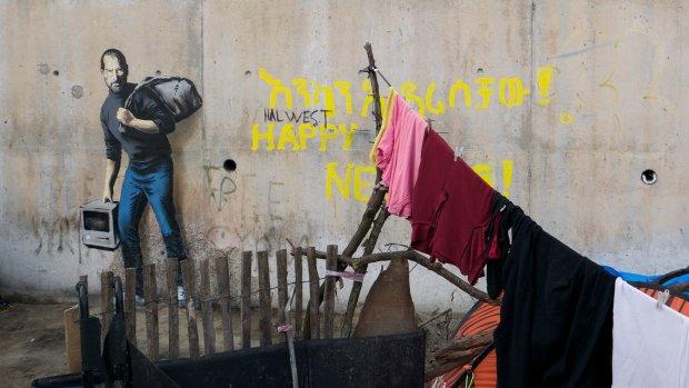 Banksy gebruikt Steve Jobs in graffiti over vluchtelingencrisis