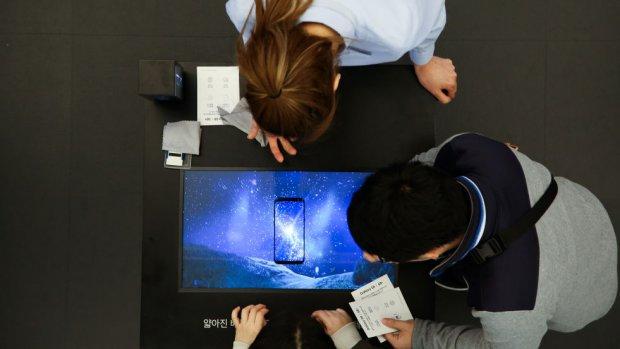 'Vingerafdrukscanner in scherm van Samsung Galaxy S10'