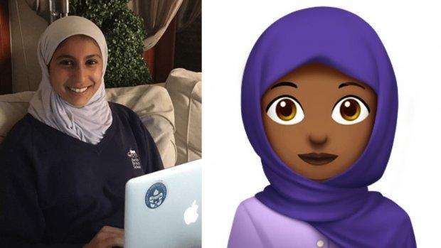 16-jarig meisje maakt emoji met hoofddoek