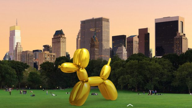 Augmented reality-kunst van Jeff Koons in Snapchat