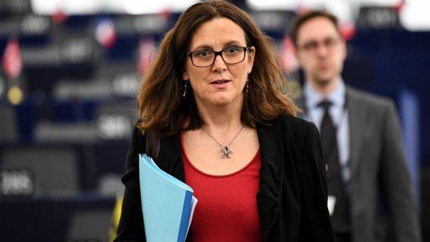 EU-commissaris Malmström voor staaloverleg naar Washington