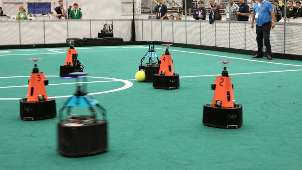 Robotvoetballers TU Eindhoven wereldkampioen