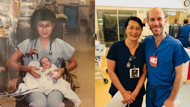Verpleegster van premature jongen is nu zijn collega