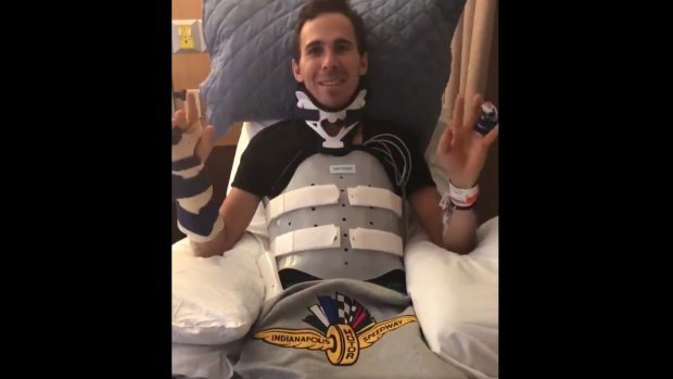 Herstellende Robert Wickens dankt fans in videoboodschap